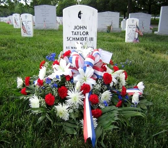 RED WHITE AND BLUE GRAVE BLANKET in Arlington VA, Twin Towers Florist