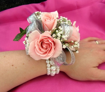 Pretty in Pink Wrist Corsage in Portland ME, Dodge The Florist