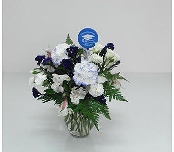 Blue White Graduation bouquet in Indianapolis IN, Gillespie Florists