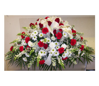 Red & White Casket Spray in Bayside NY, Bell Bay Florist