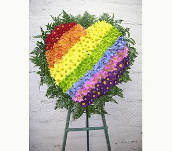 Rainbow Heart Tribute in West Los Angeles CA, Westwood Flower Garden