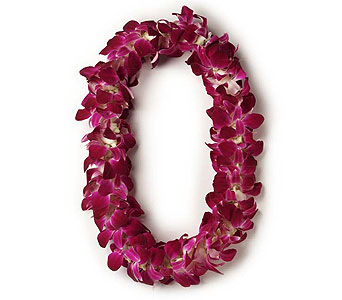 Double purple orichid lei in Fremont CA, Kathy's Floral Design