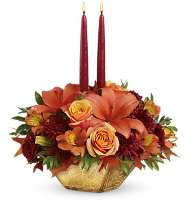 Teleflora's Harvest Gold Centerpiece in Commerce Twp. MI, Bella Rose Flower Market