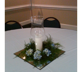 Hydrangea and Candle Centerpiece in Raleigh NC, North Raleigh Florist