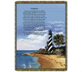 Throw - Lighthouse w/ Footprints in Bellville OH, Bellville Flowers & Gifts