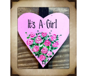 ITS A GIRL Heart Stake in Yorba Linda CA, Garden Gate