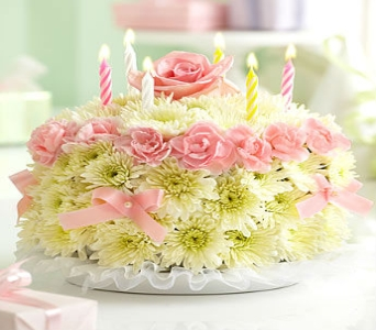 Birthday Flower Cake in Pastels in Manhattan KS, Westloop Floral