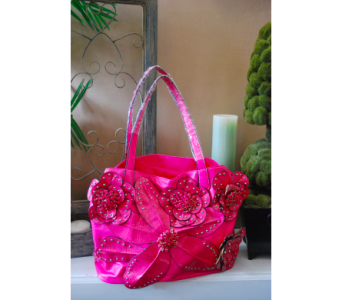 Raised Flower Large Studded Pink Handbag in Manhattan KS, Westloop Floral