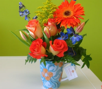 Fresh Arrangement in a Lilly Pulitzer Mug in Knoxville TN, The Flower Pot