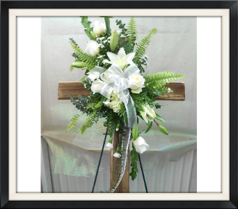 White Flowers with Barn Wood Cross in Tyler TX, The Flower Box