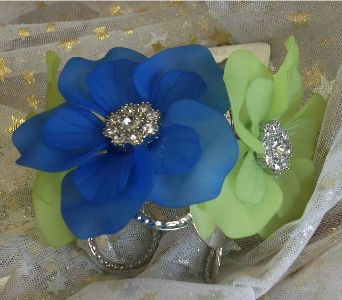 Lime Green and Electric Blue Flower Bracelet in Manhattan KS, Westloop Floral