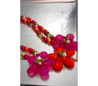 Orange and Pink Flowered Necklace in Manhattan KS, Westloop Floral
