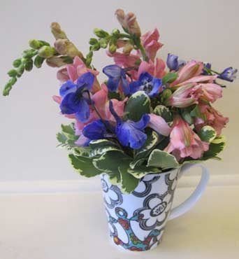 Sorority Mug with Mixed Flowers (no roses) in Fort Worth TX, TCU Florist