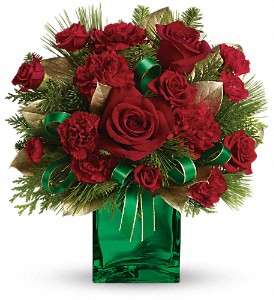 Teleflora's Yuletide Spirit Bouquet in Redwood City CA, A Bed of Flowers