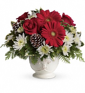 Teleflora's Simply Merry Centerpiece in Sylmar CA, Saint Germain Flowers Inc.