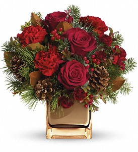 Warm Tidings Bouquet by Teleflora in Skowhegan ME, Boynton's Greenhouses, Inc.