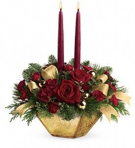 Teleflora's Crimson and Gold Centerpiece in Boston MA, Exotic Flowers