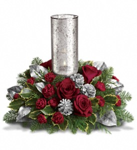 Teleflora's Silver Glow Centerpiece in Sterling Heights MI, Victoria's Garden