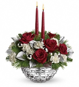 Teleflora's Sparkle of Christmas Centerpiece in Randolph Township NJ, Majestic Flowers and Gifts