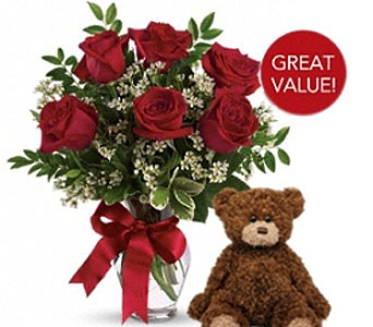 Buds and Blooms Half Dozen Roses with Plush Bear in Federal Way WA, Buds & Blooms at Federal Way