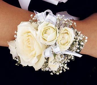 White Ice Roses Wristlet in Norwalk CT, Bruce's Flowers & Greenhouses