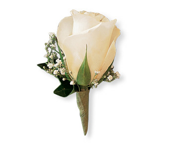 White Ice Rose Boutonniere in Big Rapids MI, Patterson's Flowers, Inc.