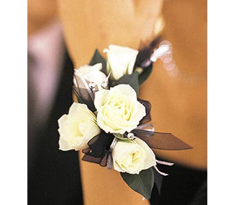 5 White Mini Roses Wristlet in Westport CT, Westport Florist