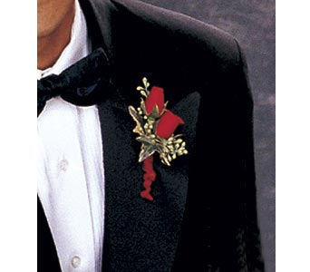 Red-Hot Roses Boutonniere in Olean NY, Mandy's Flowers