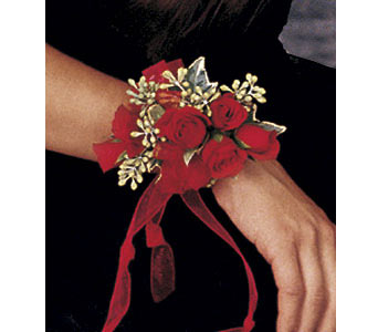 Red-Hot Roses Wristlet in Olean NY, Mandy's Flowers