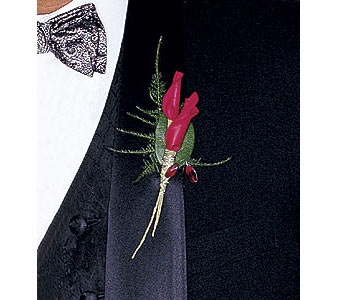 Red Rose Petals Boutonniere in Woodland Hills CA, Woodland Warner Flowers