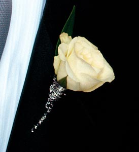 White Rose Boutonniere in Olean NY, Mandy's Flowers