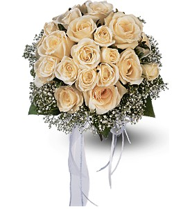 Hand-Tied White Roses Nosegay in Big Rapids MI, Patterson's Flowers, Inc.