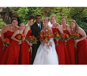 Red and Orange Bridal Party in Freehold NJ, Especially For You Florist & Gift Shop
