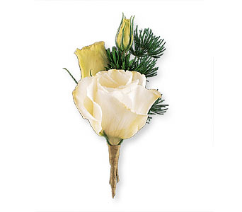 White Lisianthus Boutonniere in Bend OR, All Occasion Flowers & Gifts