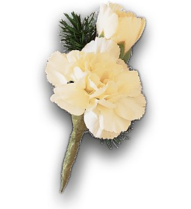 Miniature White Carnation Boutonniere in Bend OR, All Occasion Flowers & Gifts