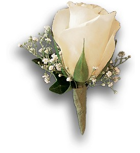 White Rose and Baby's Breath Boutonniere in Augusta GA, Ladybug's Flowers & Gifts Inc