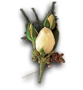 White Spray Rose Boutonniere in Augusta GA, Ladybug's Flowers & Gifts Inc