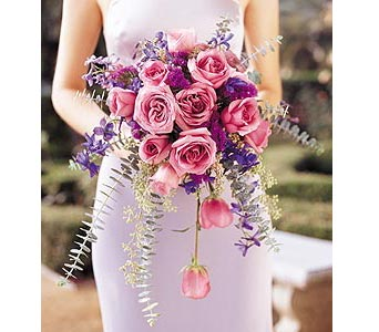 Cascading Lavender Roses Bouquet in Olean NY, Mandy's Flowers