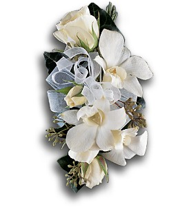 White Rose and Orchid Corsage in Woodland Hills CA, Woodland Warner Flowers