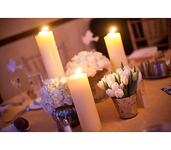 Silver and White Centerpieces in Somerset NJ, Flower Station