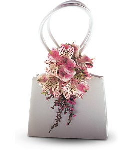 Ruffled Pinks Purse Corsage in Woodland Hills CA, Woodland Warner Flowers