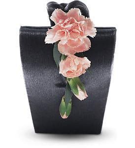 Cascading Carnations Purse Corsage in Woodland Hills CA, Woodland Warner Flowers