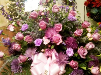 lush lavender and pink tribute in Abington MA, The Hutcheon's Flower Co, Inc.