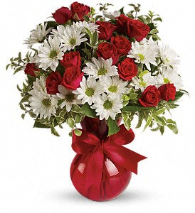 Red White And You Bouquet by Teleflora in The Woodlands TX, Rainforest Flowers