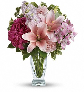 Teleflora's Blush Of Love Bouquet in Hollister CA, Barone's Westlakes Balloons and Gifts