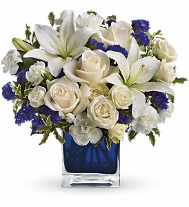 Teleflora's Sapphire Skies Bouquet in Mount Morris MI, June's Floral Company & Fruit Bouquets
