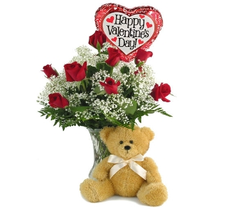 Valentine's Special Bear & Balloon in Southfield MI, Thrifty Florist