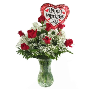 Valentine's Day Roses & Air Balloon  in Southfield MI, Thrifty Florist