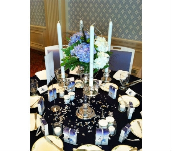 Silver Candelabra in Cooperstown NY, Mohican Flowers