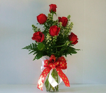 6 Sexy Red Roses and Garden Vase in Camden AR, Camden Flower Shop